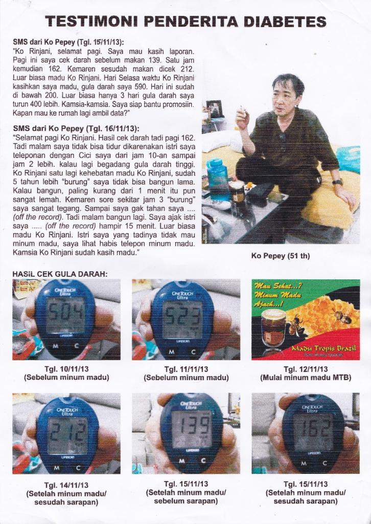 testimoni penderita diabetes mengonsumsi madu tropis brazil 55 ribu per botol